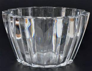 Ribbed Crystal Pitcher and Bowl
