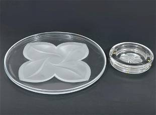 Crystal Frosted Flower Glass Platter Ashtray