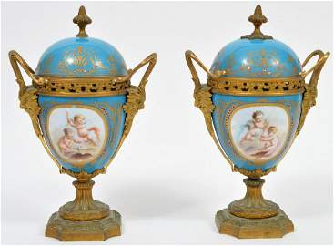 Pair of Hand Painted Sevres Style Urns