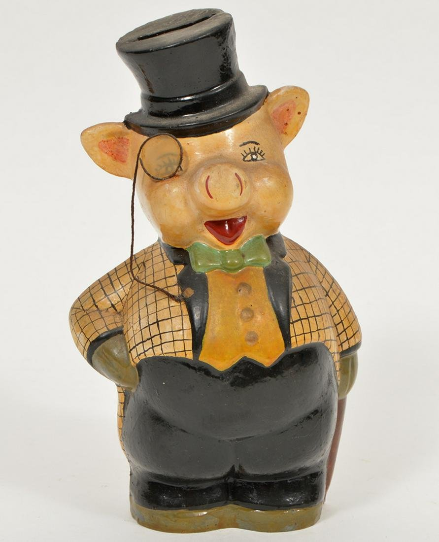 Antique Pottery Pig Bank
