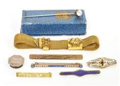 8 Antique Gold Filled Fob Bar Pins Stick Pin