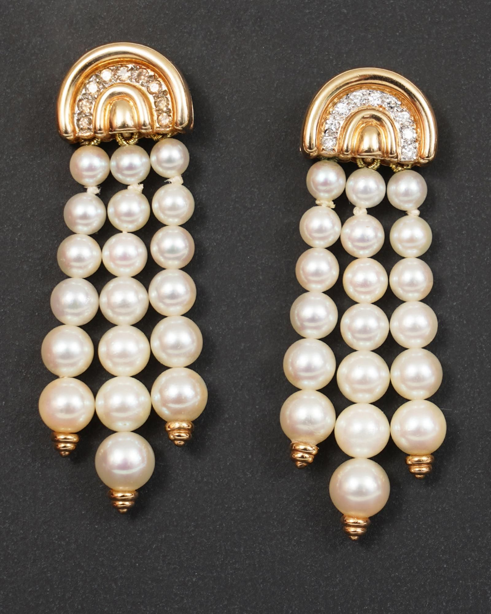 Pair of 14k Gold Diamond & Pearl Drop Earrings
