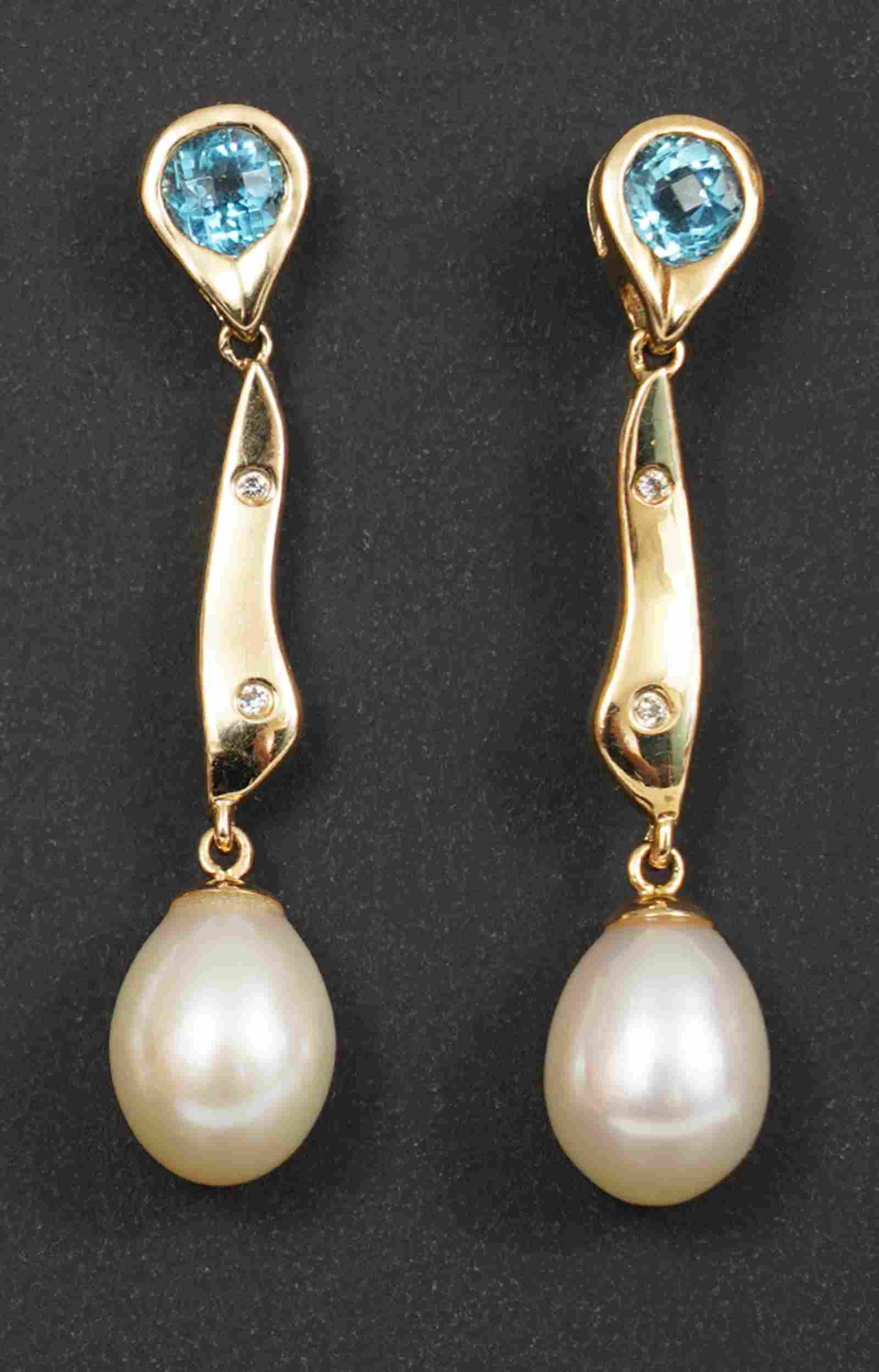 Pair 14k Gold, Diamond, Pearl, Blue Topaz Earrings