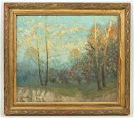 Signed Thomas Oil Painting Winter Landscape
