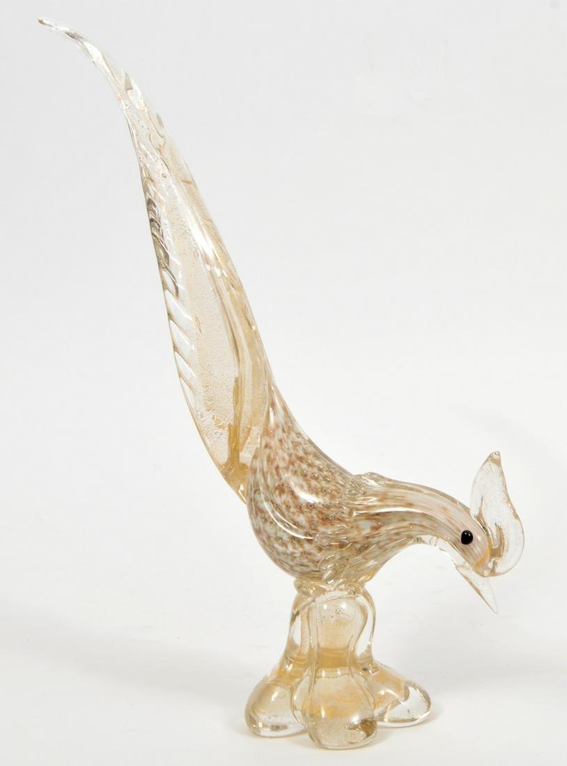 Murano Italian Art Glass Pheasant Bird Figurine