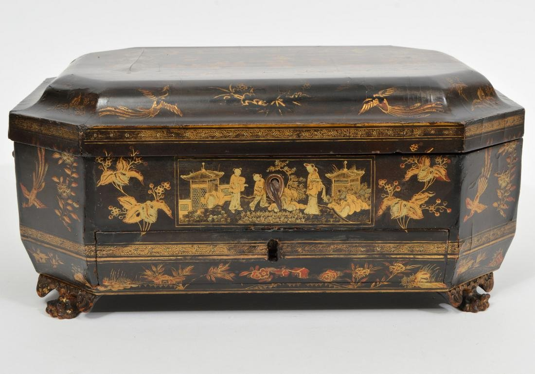 Chinese Paper Mache Gilt Decorated Sewing Box
