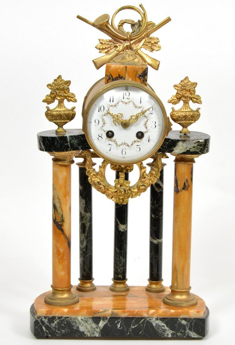 French Mantle Clock Marble Base Bronze Mounts