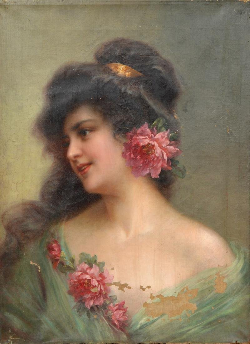 Wonderful 19th Ct. Oil Painting of Young Lady