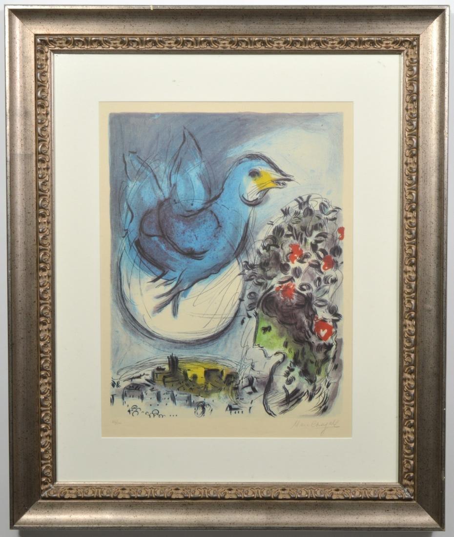 Marc Chagall L'Oiseau Bleu Lithograph on Paper