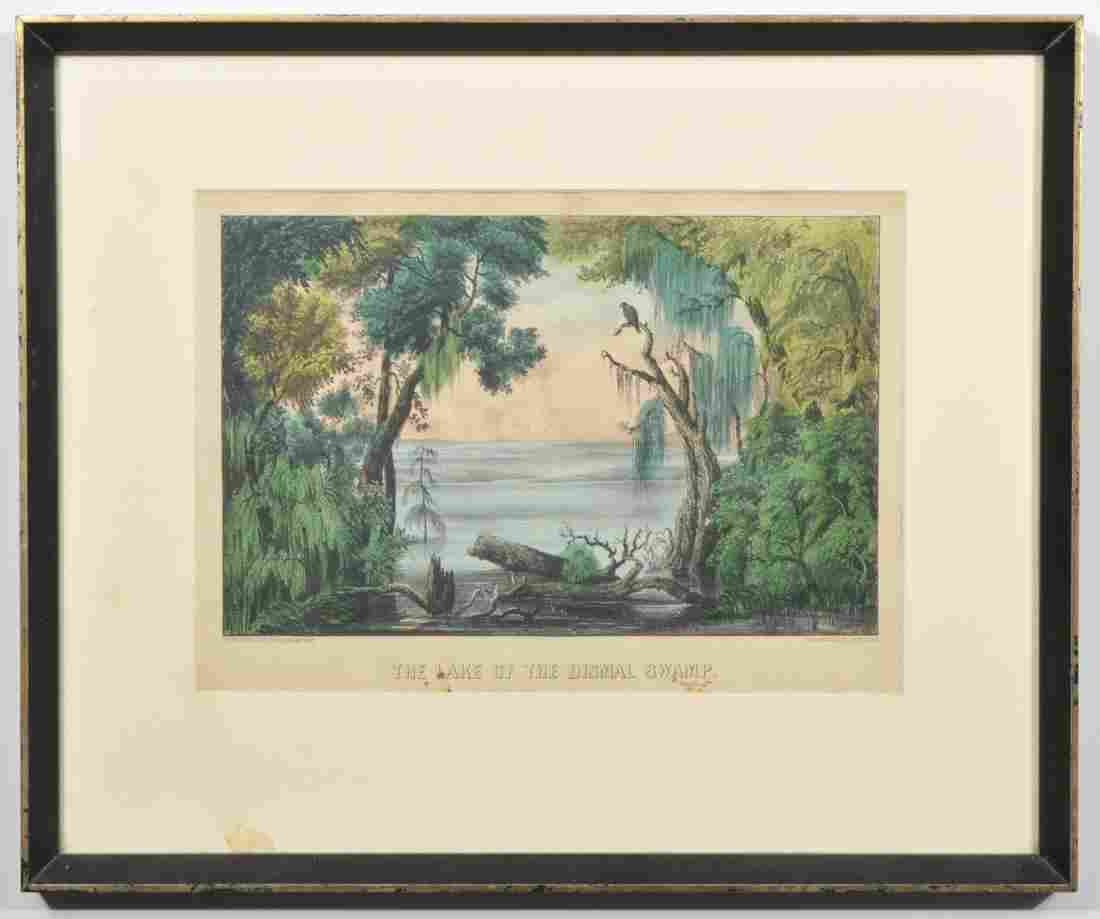 Currier & Ives Lithograph 'Lake of Dismal Swamp'