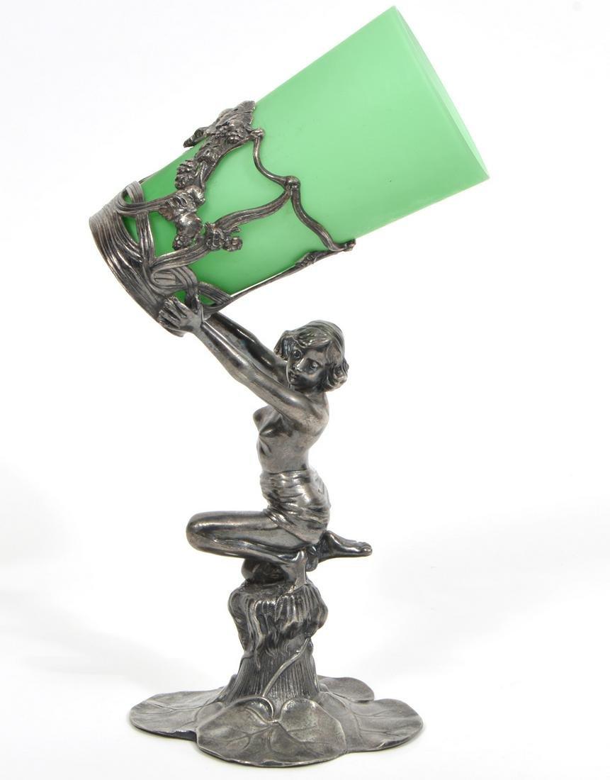 Art Nouveau Silvered Metal Figural Glass Holder