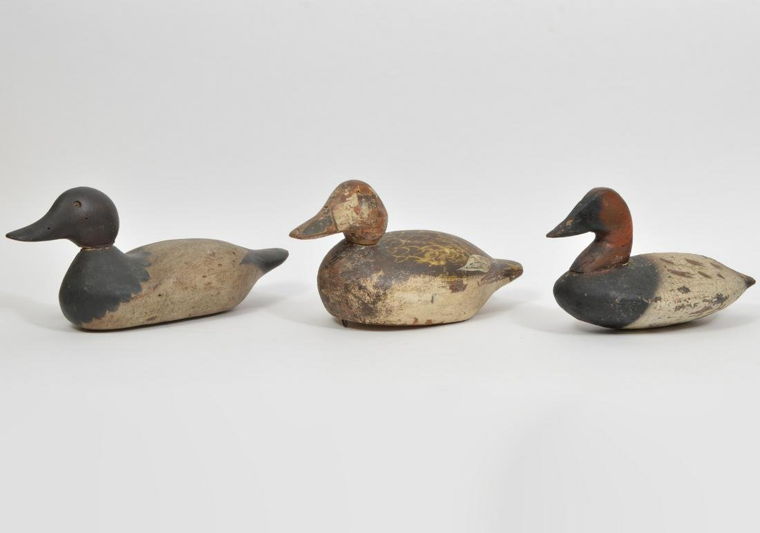 3 Antique Carved & Painted Wood Decoys