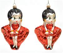 2 Vintage Christopher Radko Betty Boop Ornaments