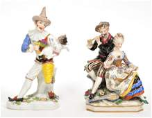 Two Porcelain Figures Musicians and Clown