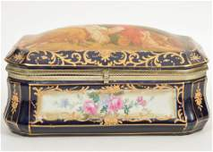 LARGE Hand-Painted Sevres-Style Porcelain Box