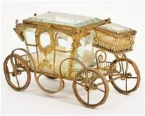 Gilt Bronze & Glass Carriage Jewelry Trinket Box