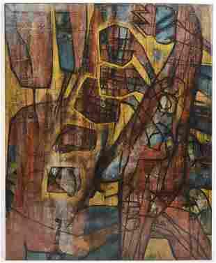 Mid Century Cubist Painting Lazaro Martinez 1967