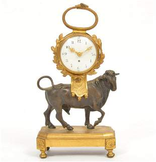 French Empire Bronze Table Clock