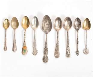 Lot of 9 Sterling Souvenir Spoons