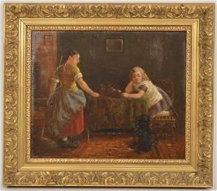 19th Century English O/C Interior Scene
