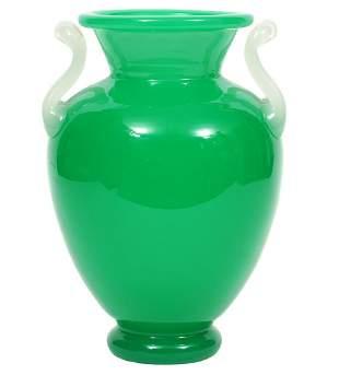Large Steuben Jadeite Two Handle Urn