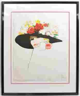 Rene Gruau Lithograph 'Flowers in Hat'