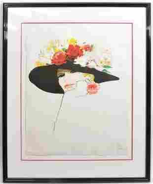 Rene Gruau Lithograph 'Flowers in Hat'