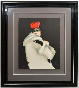 Rene Gruau Lithograph 'Lady in White'