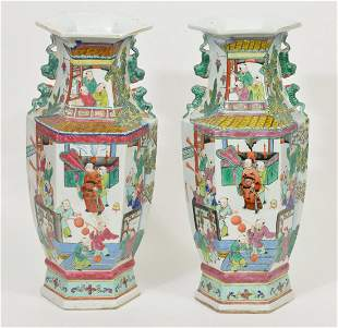 Pair of Chinese Hexagon Porcelain Vases