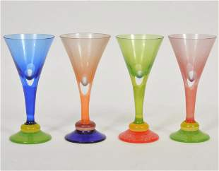 Set of 4 Tulip Art Glass Cordial Glasses