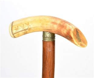 Hippo Tooth Handle Walking Stick Cane