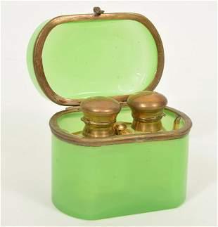 French Green Opaline Casket Box & Perfume Bottles