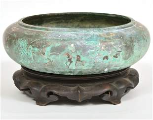 Chinese Mixed Metals Bowl With Wood Stand