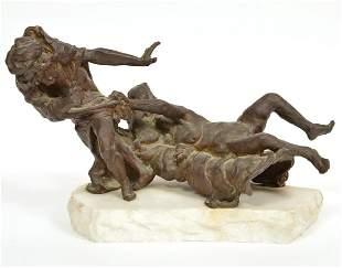 Signed Bronze Modernist Figures on Marble Base