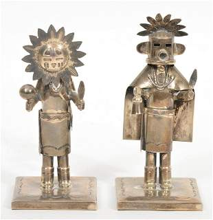 Two Sterling Silver Kachina Dolls Signed Castillo