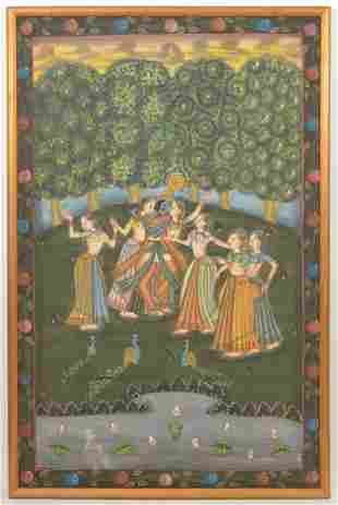 Pichwai Painting of Krishna Dancing with Gopies