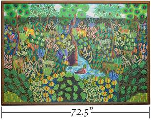 Fritz Damas Large Haitian Jungle Picture