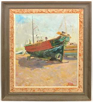 F. Tay Sailboat Scene Oil on Canvas