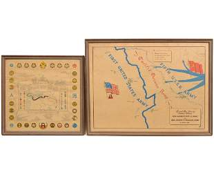Two WWII Illustrated Campaign Maps Framed