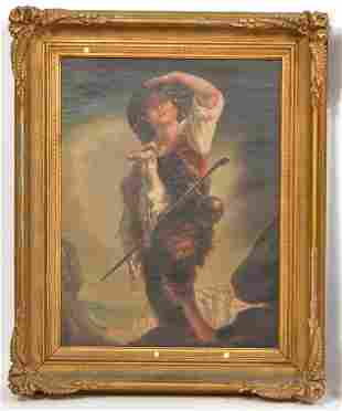 19th C. Continental Oil Painting of a Boy