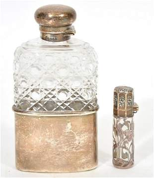 Sterling Silver Glass Hip Flask and Scent Bottle