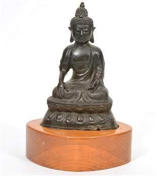 Bronze Seated Buddha on Wood Base