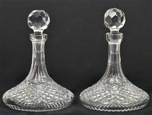 Pair Of Waterford Crystal Alana Ship Decanters