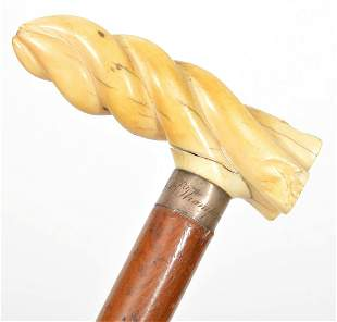 Hand-Carved Bone Handle Walking Stick Cane
