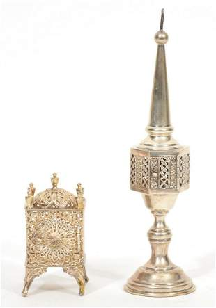 Two ESCO Judaica Sterling Silver Spice Boxes