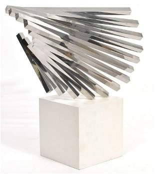 Mid-Century Modern Abstract Metal Bars Sculpture