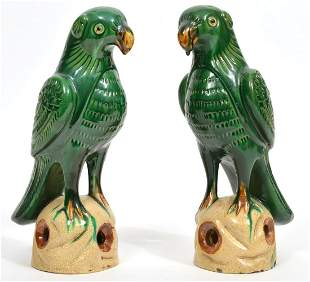 Pair of Chinese Glazed Green Pottery Parrots