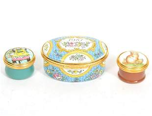 3 Halcyon Days Enameled Porcelain Trinket Boxes