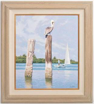 Howard Schafer 'Pelican on a Pole' Oil Painting