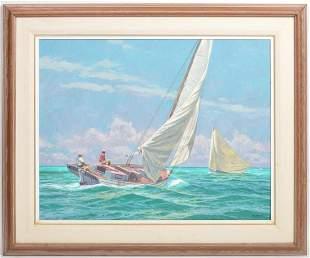 Howard Schafer Original Oil Painting 'Sailboat...'